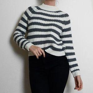 Sweaters - Ivy & Main Grey & White Stripe Turtleneck Sweater